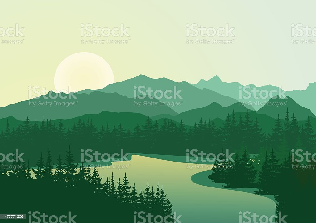 Beautiful sunrise at mountain lake vector art illustration