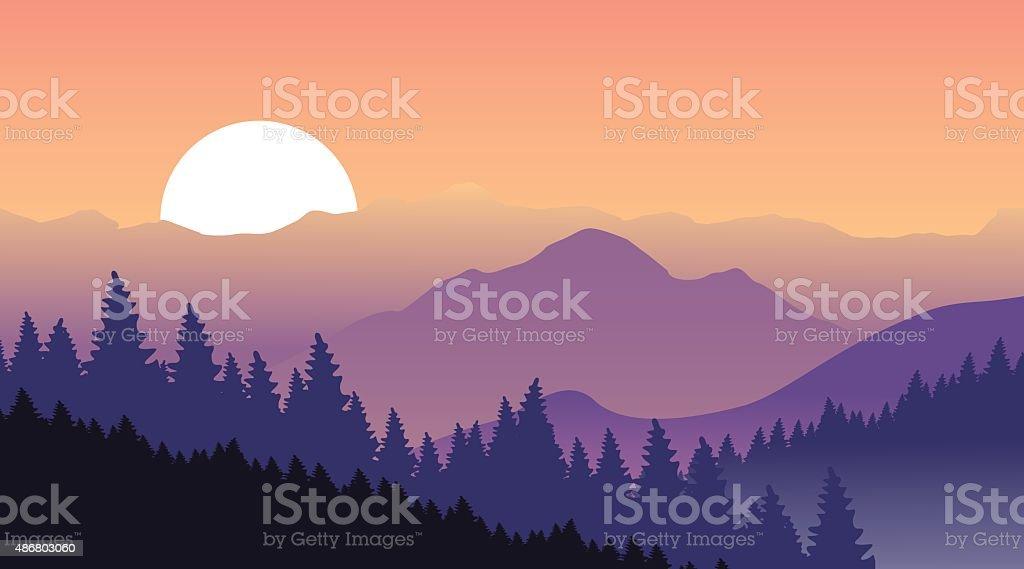 Beautiful sunset at mountains. vector art illustration