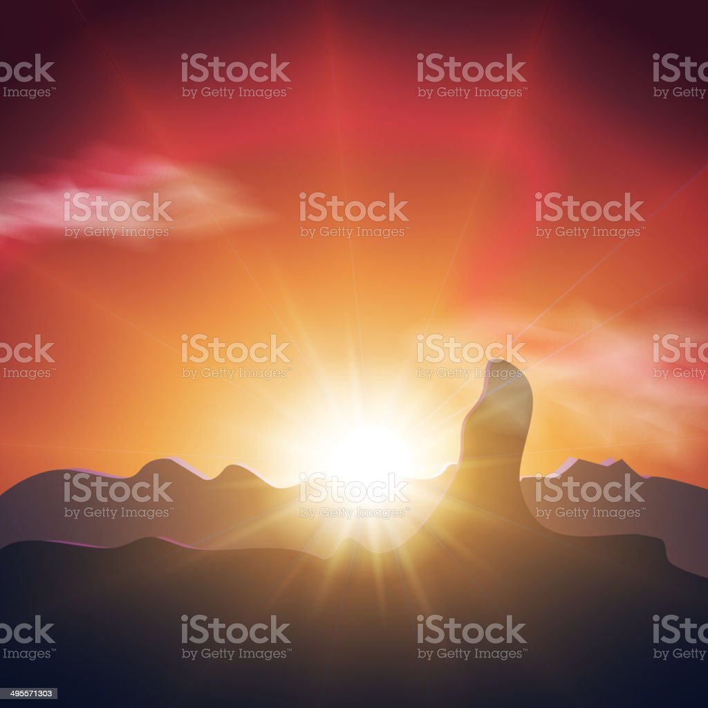 Beautiful sunset in the mountains. Orange sky, long rays ofsun royalty-free stock vector art