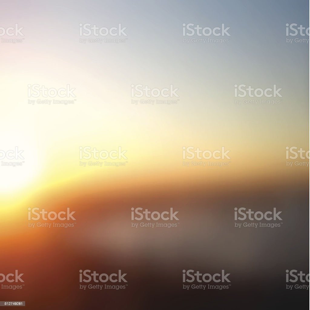 Beautiful sunset vector art illustration