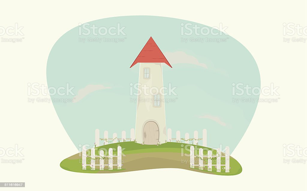 Beautiful tower house with white fence and flowers vector art illustration