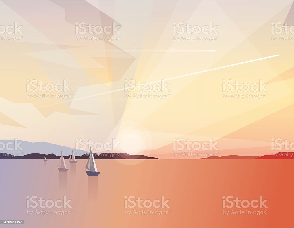 Beautiful tranquil ocean view scenery with sailing boats on sunrise vector art illustration