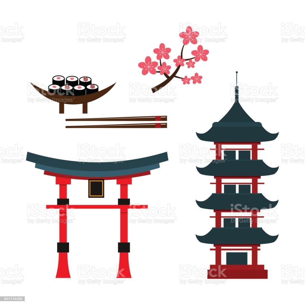 Beautiful travel landmarks chinese temple vector vector art illustration