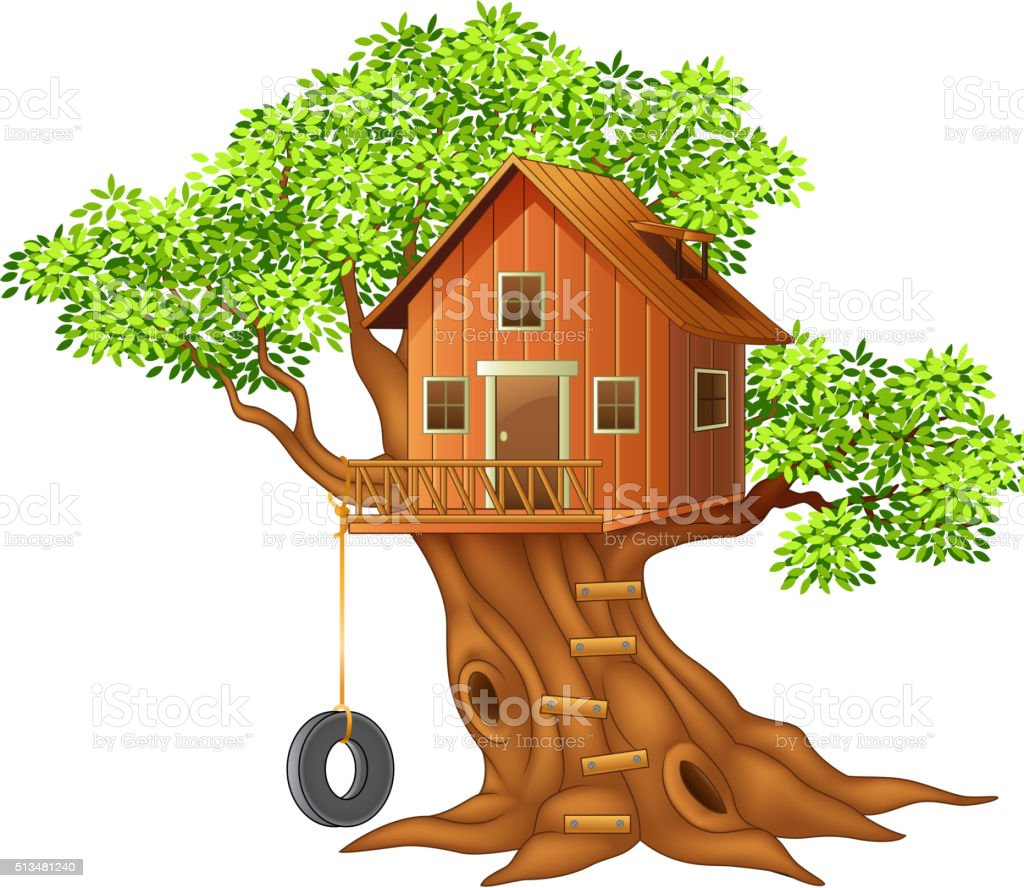 Beautiful tree house cartoon vector art illustration