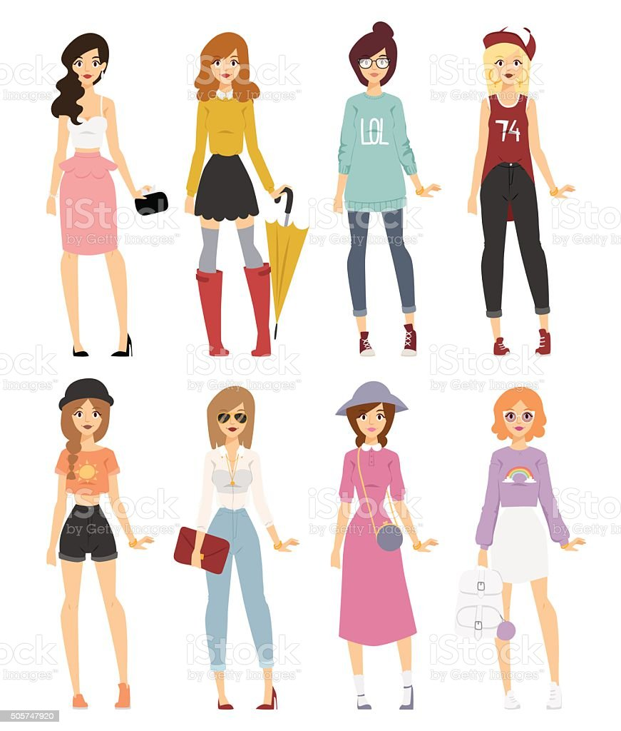 Beautiful vector cartoon fashion girl models look standing over white vector art illustration