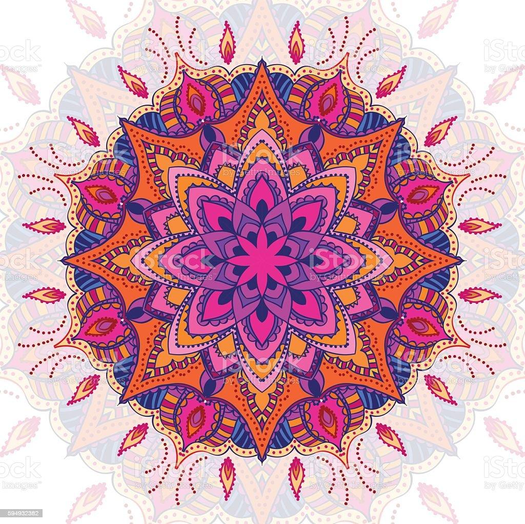 Beautiful vector colored mandala ornament. Vintage decorative elements. Hand drawn vector art illustration