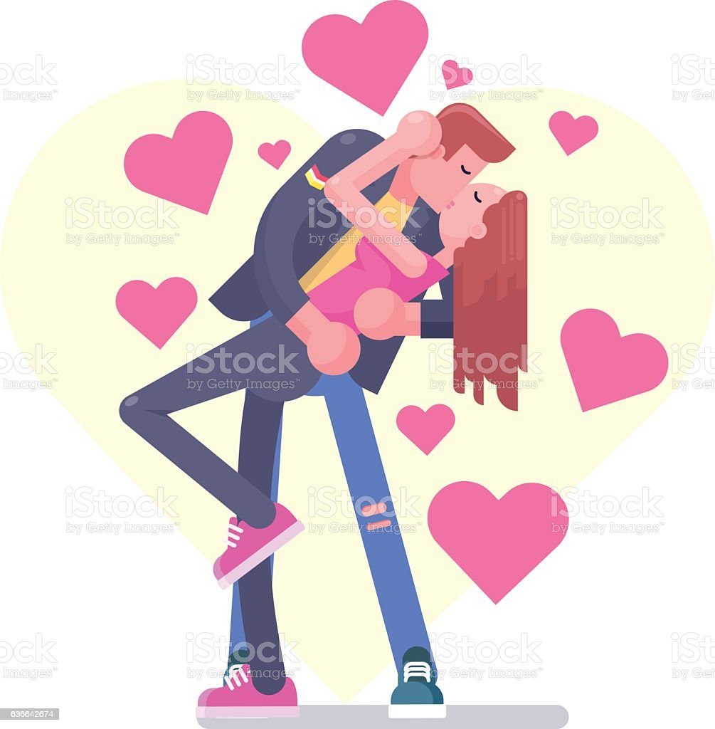 Beautiful vector illustration of Kissing Couple vector art illustration