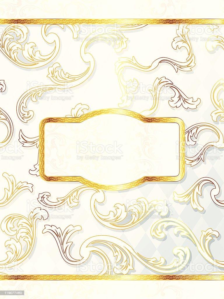 Beautiful vertical rococo wedding label royalty-free stock vector art
