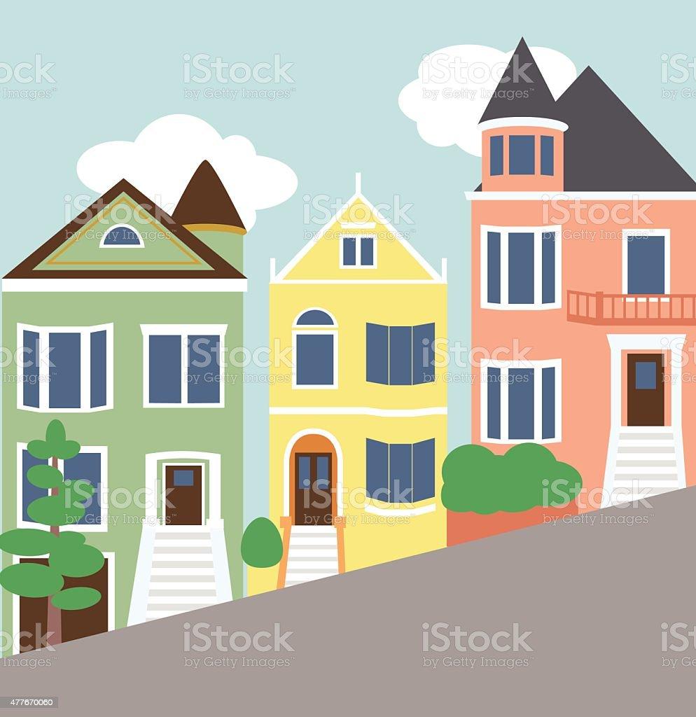 Beautiful Victorian Homes vector art illustration