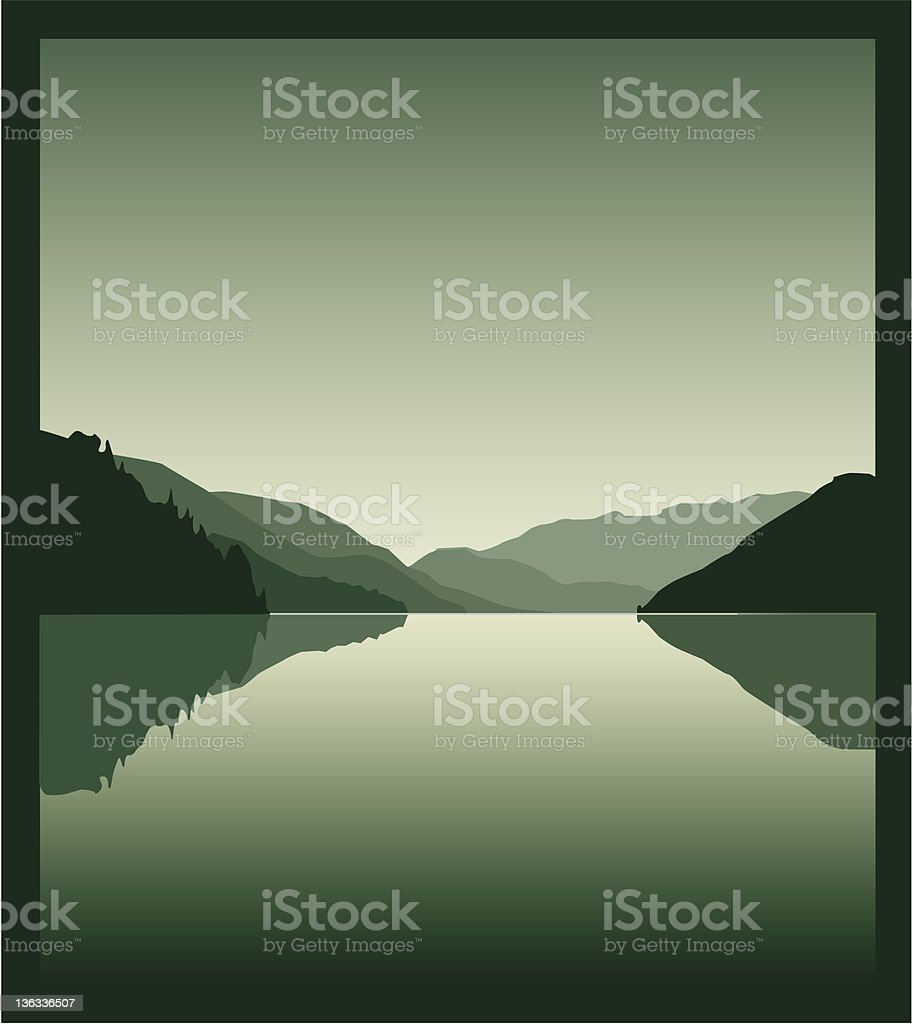 Beautiful view of the Alpine lake vector art illustration