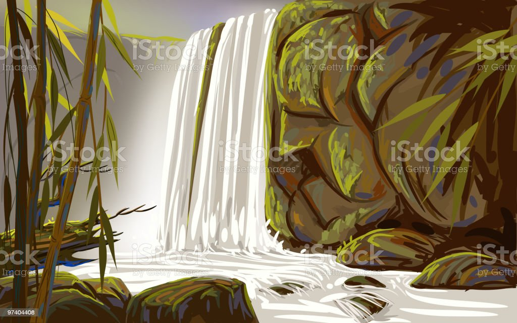 Beautiful Water Fall vector art illustration