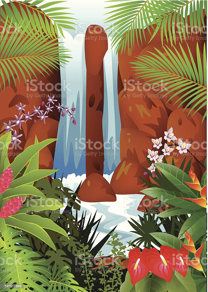 Beautiful waterfall background royalty-free stock vector art