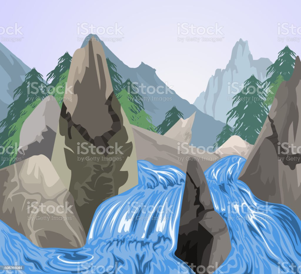 Beautiful waterfall scene vector art illustration