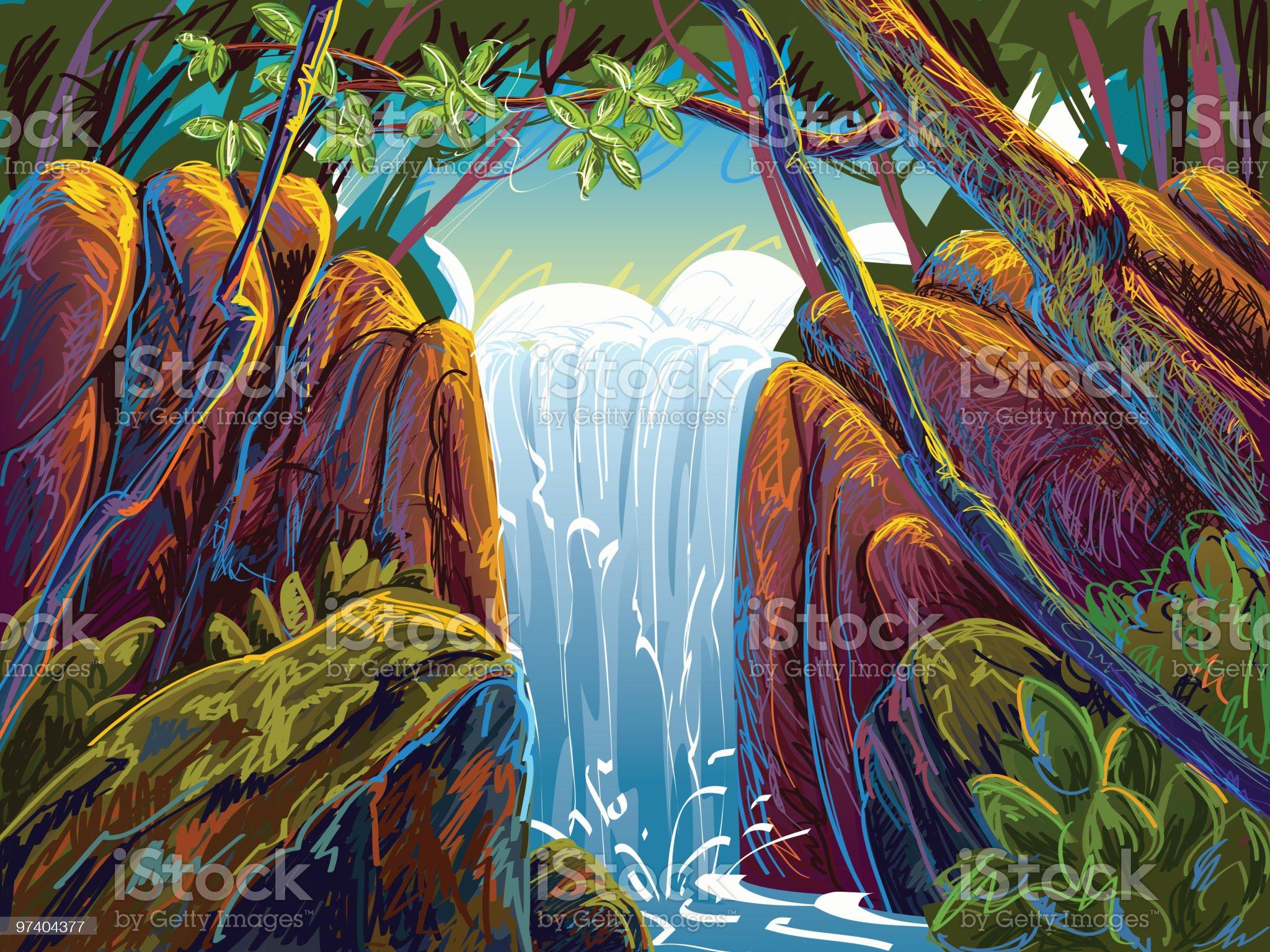 Beautiful Waterfall royalty-free stock vector art