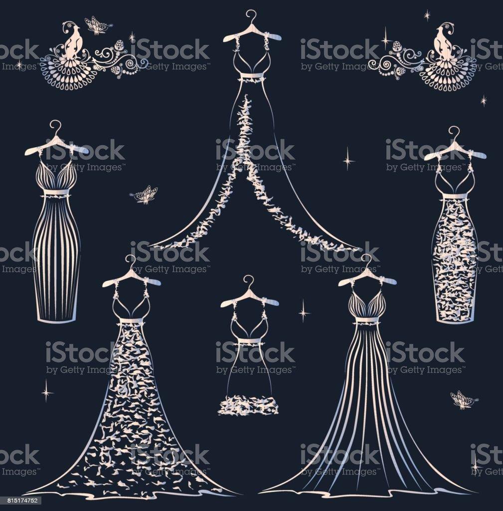 Beautiful wedding dress set vector art illustration