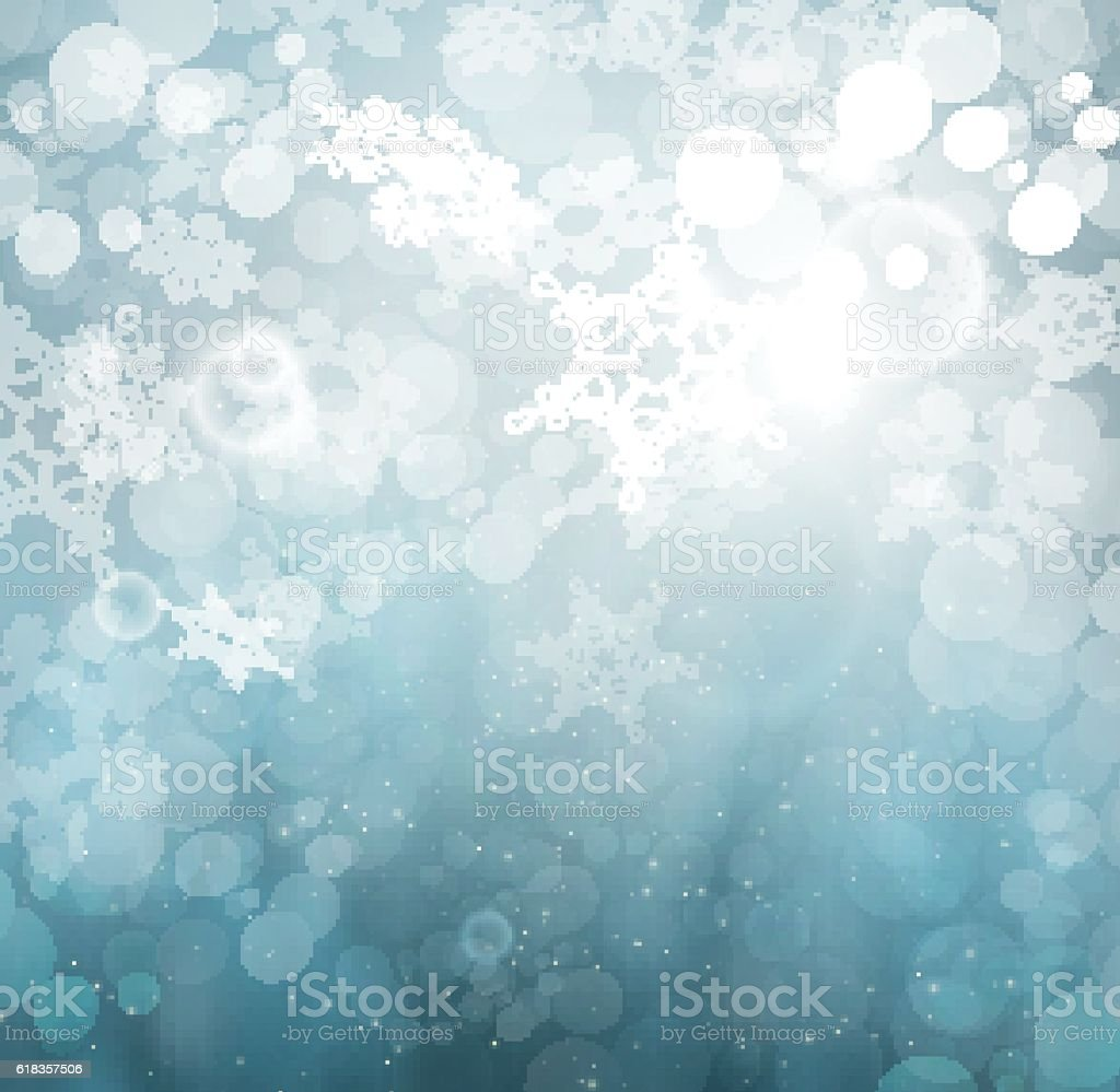 Beautiful Winter Abstract Snowflakes Background vector art illustration