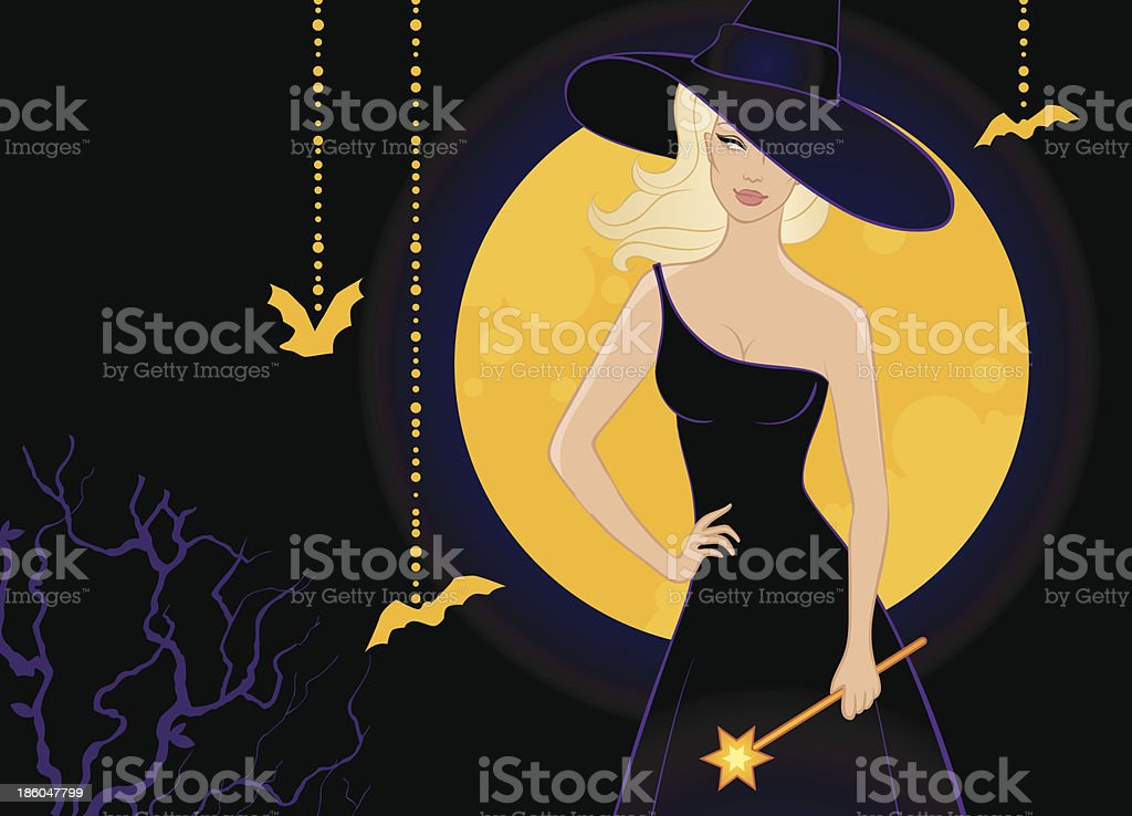 Beautiful witch in black dress royalty-free stock vector art