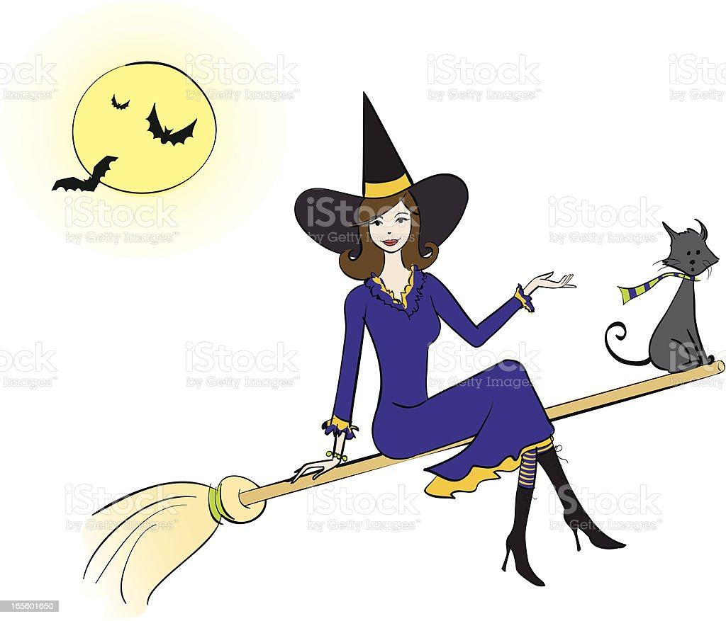 Beautiful Witch vector art illustration