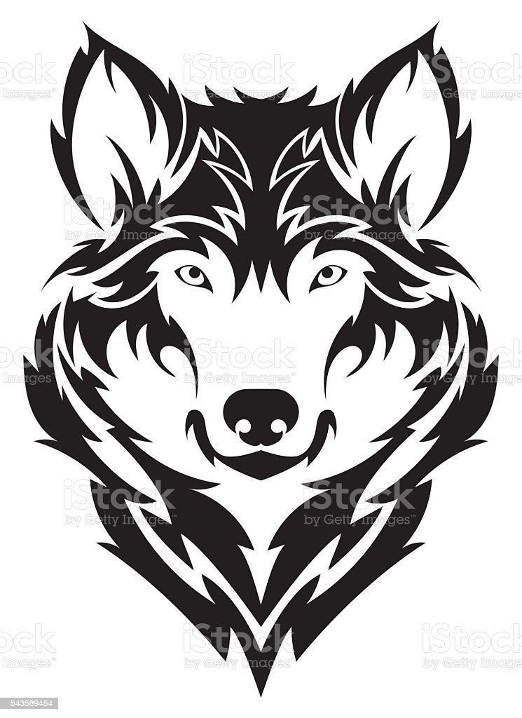 Beautiful wolf tattoo.Vector wolf's head as a design element vector art illustration