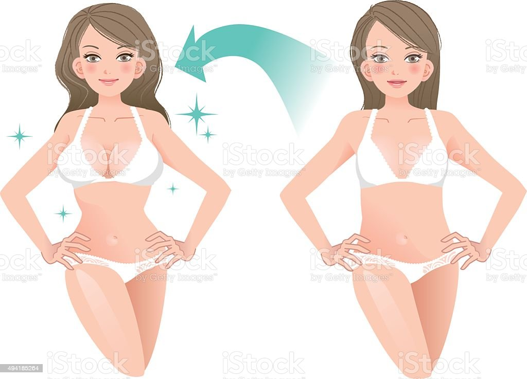 Beautiful woman before and after cosmetic surgery vector art illustration