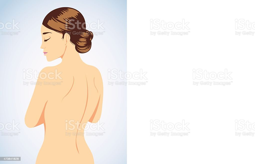 Beautiful woman cartoon back view vector art illustration