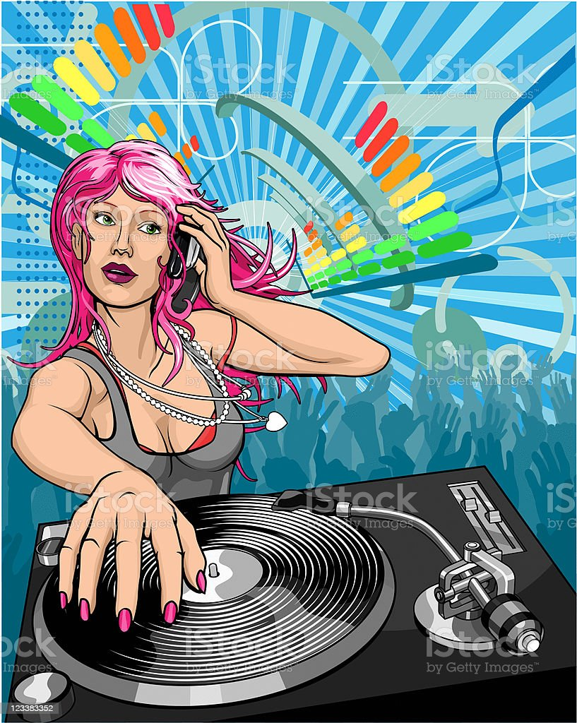 Beautiful woman DJ royalty-free stock vector art