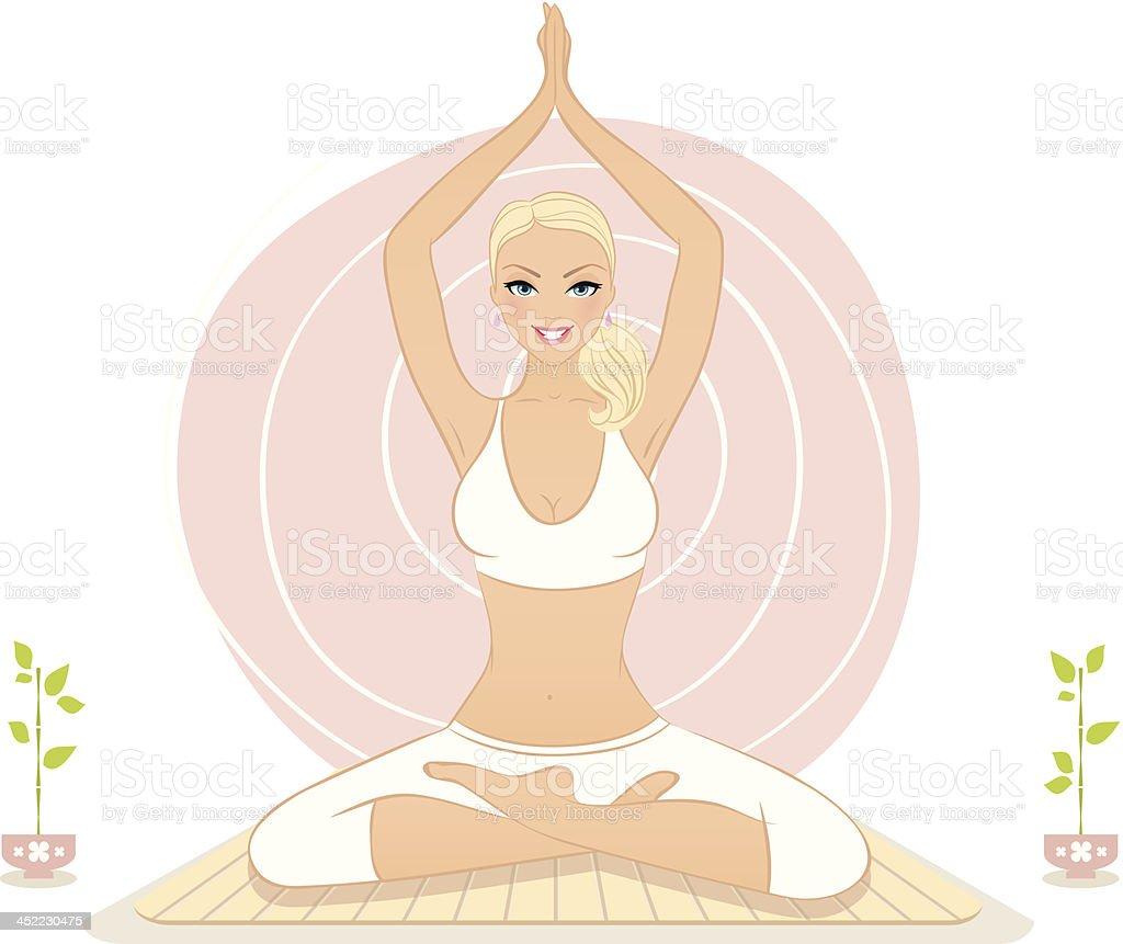 Beautiful woman doing yoga exercises royalty-free stock vector art