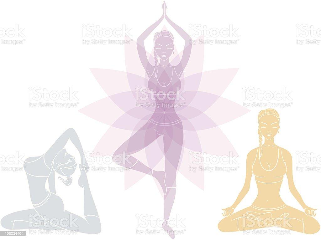 Beautiful woman doing youga exercises vector art illustration
