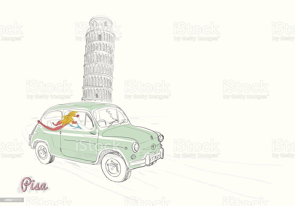 Beautiful woman driving thru Pisa royalty-free stock vector art
