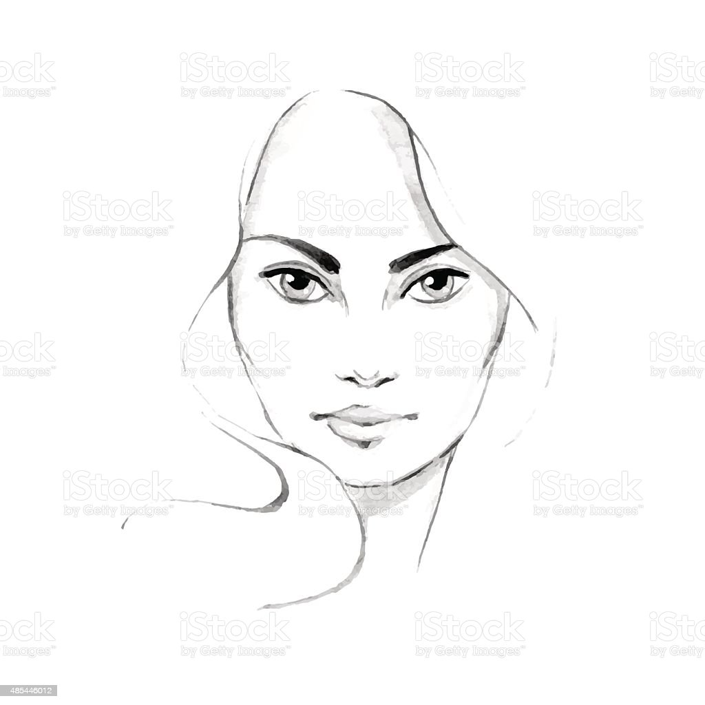 Beautiful woman face 3. Hand-drawn watercolor illustration. Vector vector art illustration