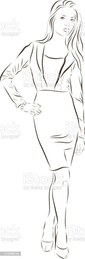 Beautiful woman face hand drawn vector illustration vector art illustration