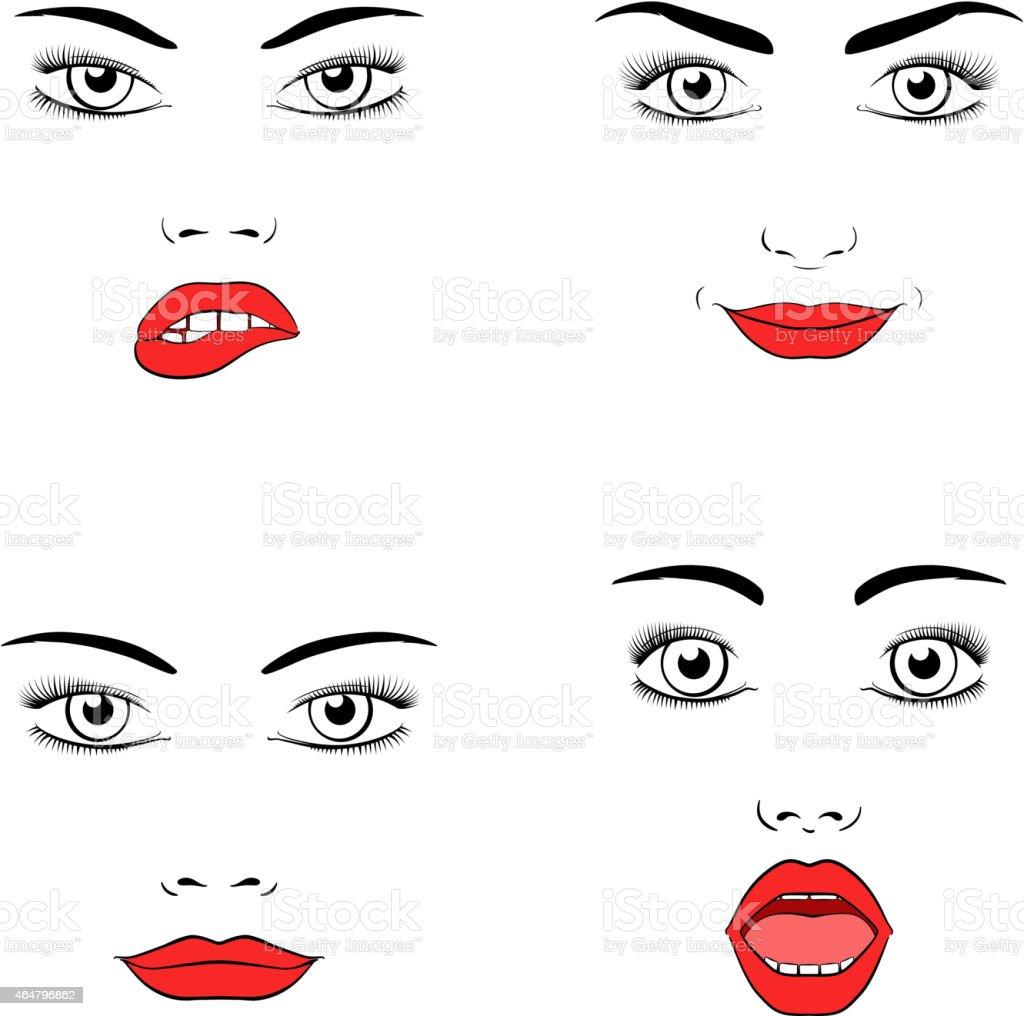 Beautiful woman face silhouette vector art illustration