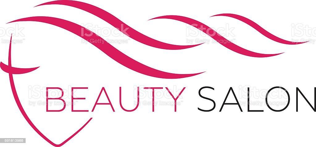 Beautiful woman face vector logo template for hair salon vector art illustration