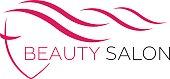 Beautiful woman face vector logo template for hair salon