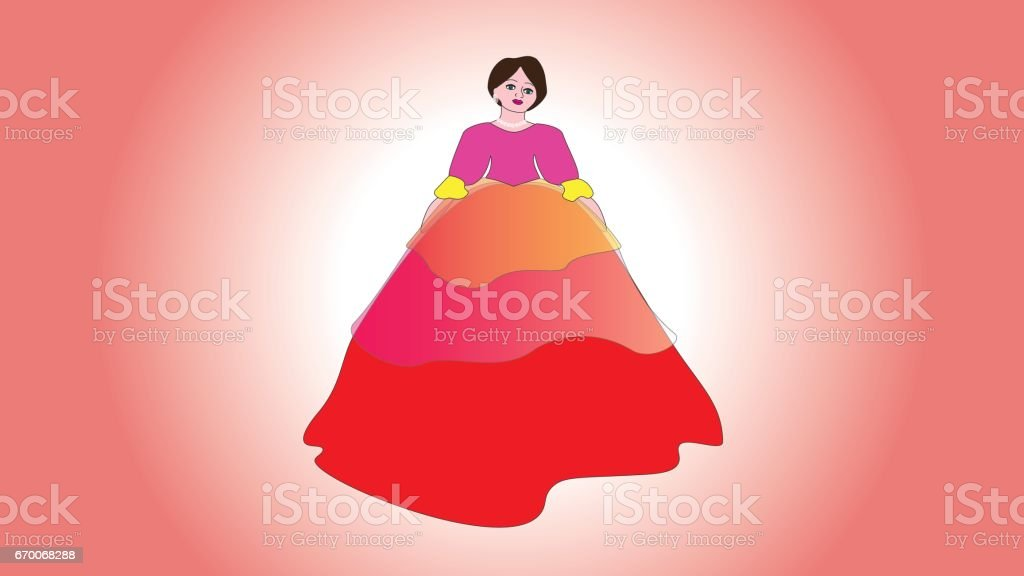 Beautiful woman in a ball gorgeous dress in vintage style. vector art illustration