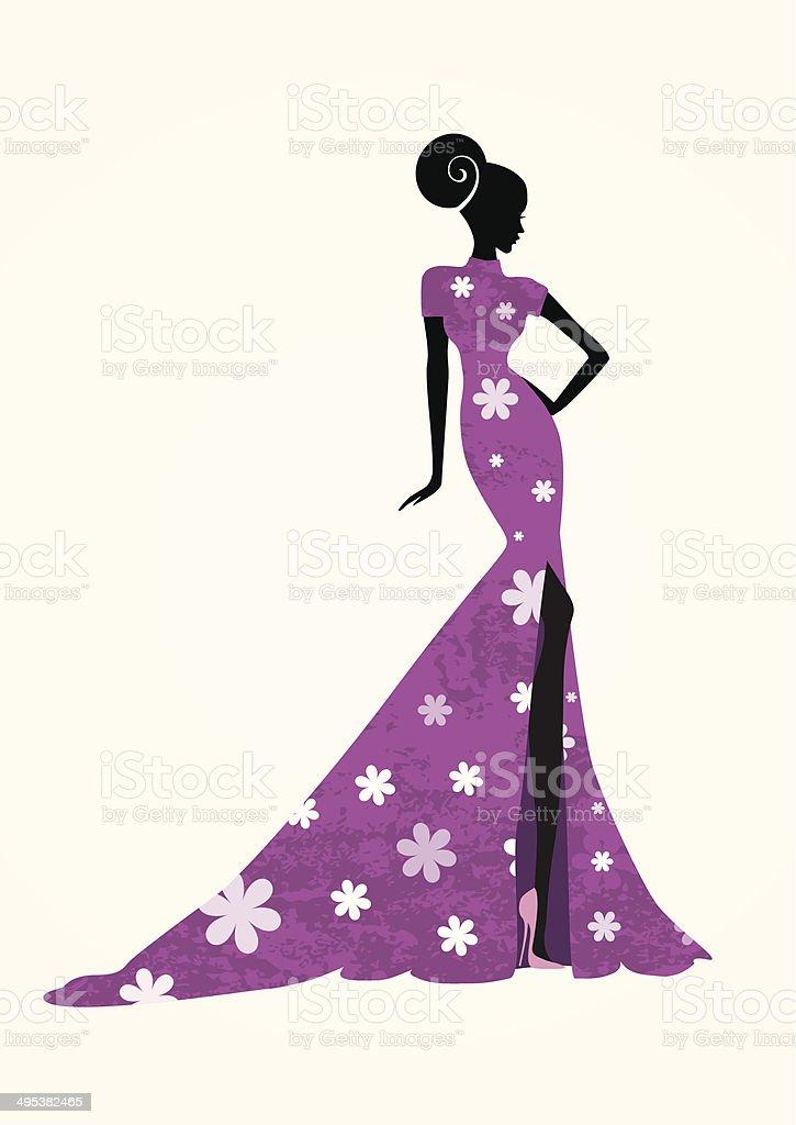 Beautiful woman in a long purple dress vector art illustration