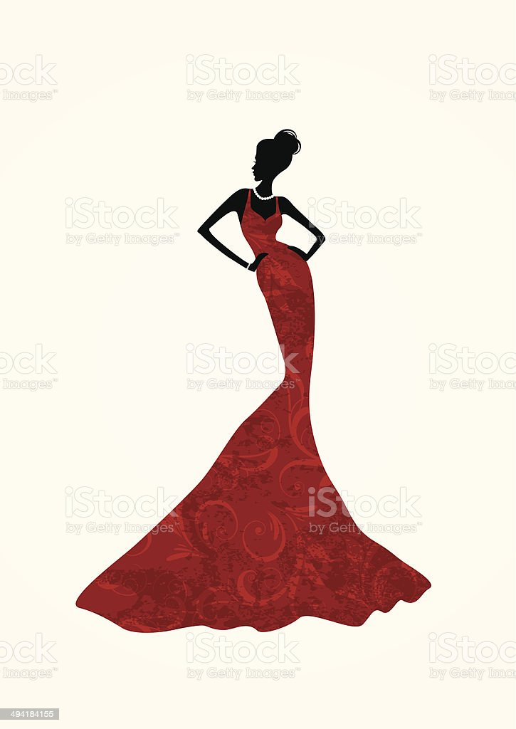 Beautiful woman in a long red dress vector art illustration