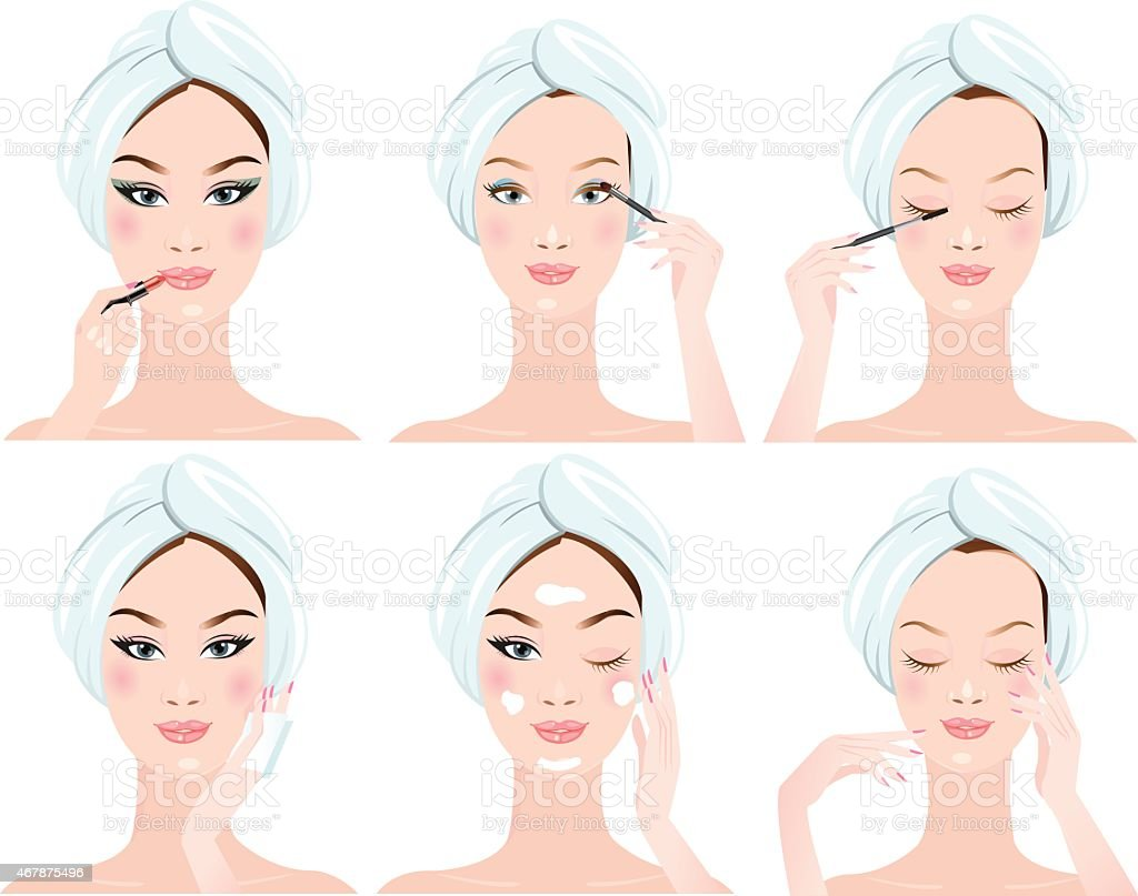 beautiful woman in process of washing face. vector art illustration
