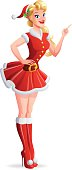 Beautiful woman in Santa outfit finger pointing up. Vector illustration.
