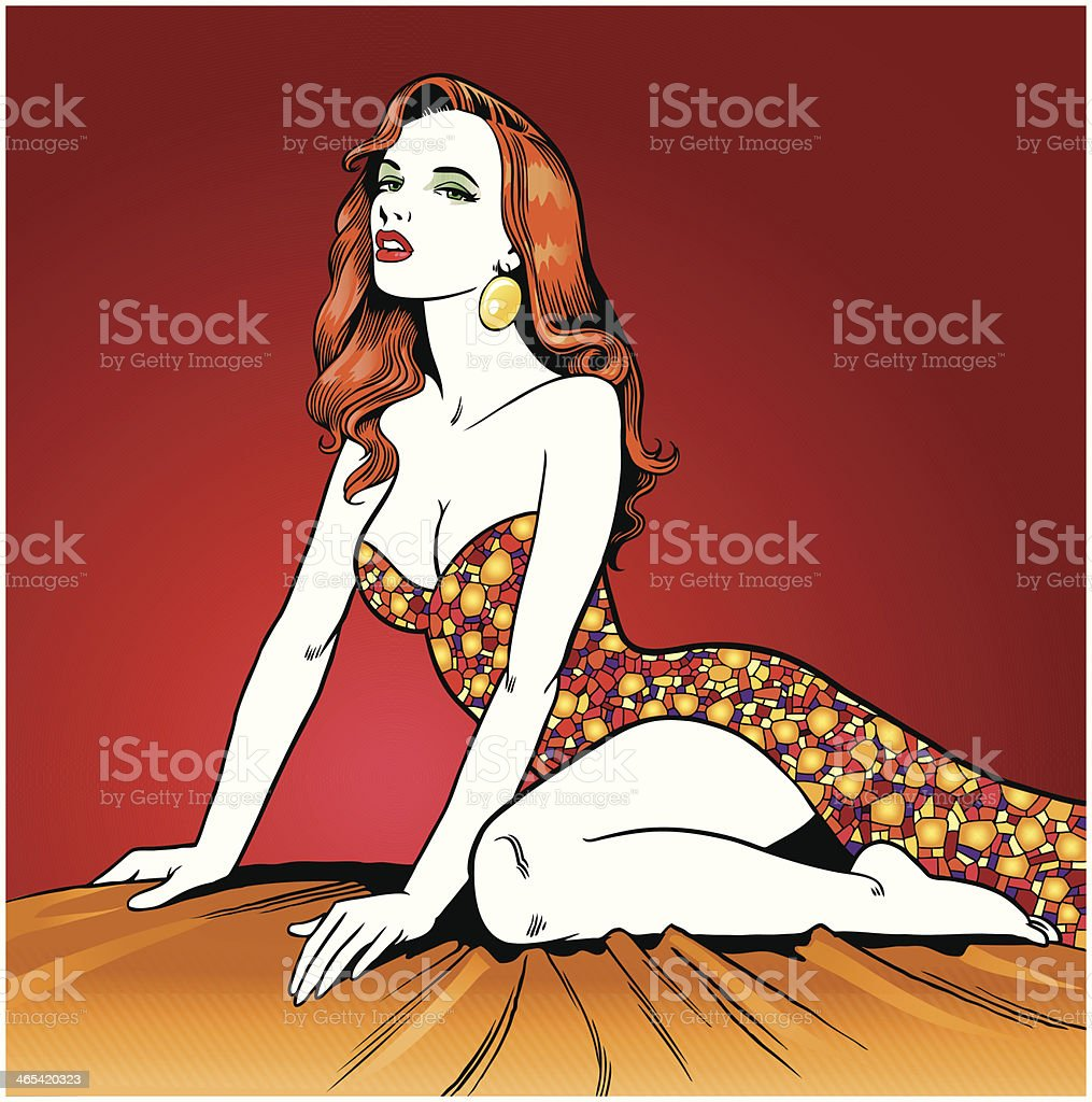 Beautiful Woman Posing Seductively royalty-free stock vector art