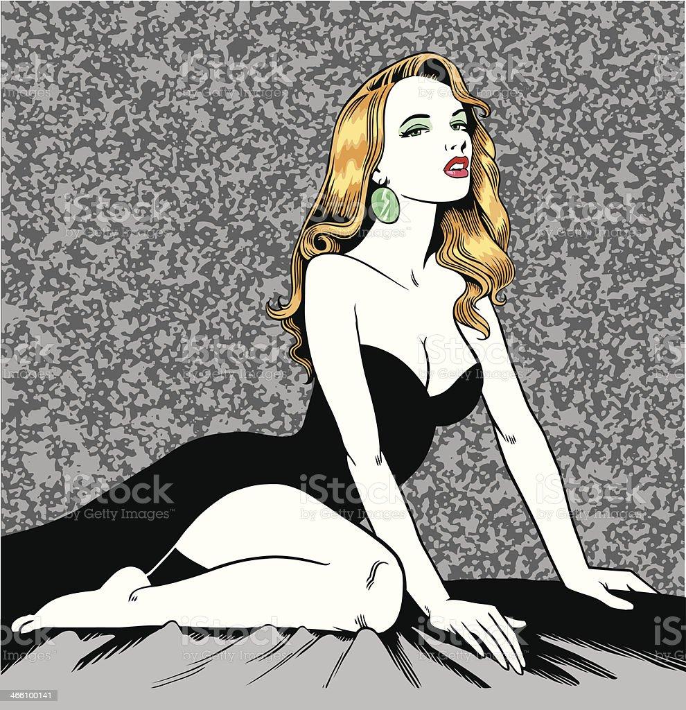 Beautiful Woman Posing royalty-free stock vector art