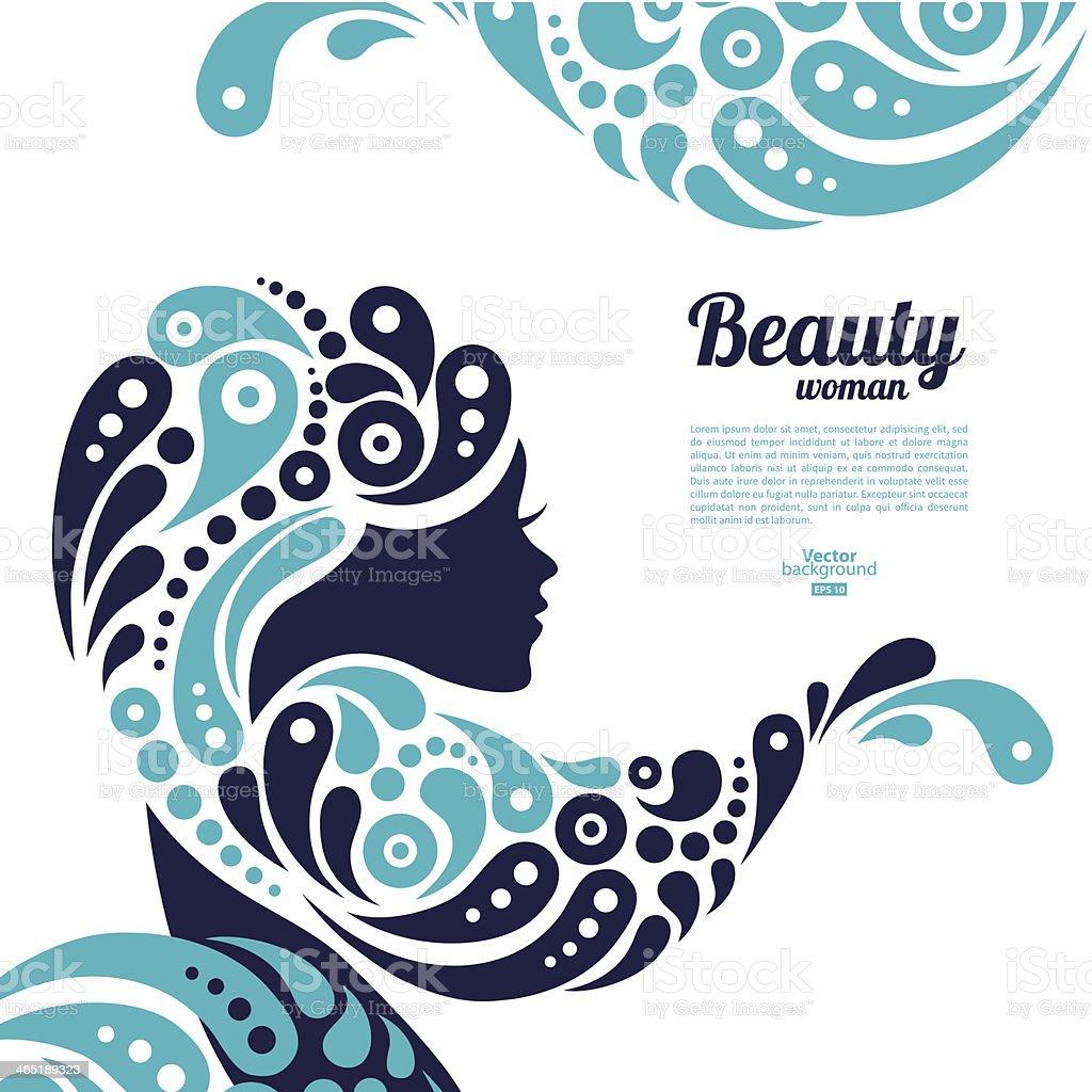 Beautiful woman silhouette vector art illustration