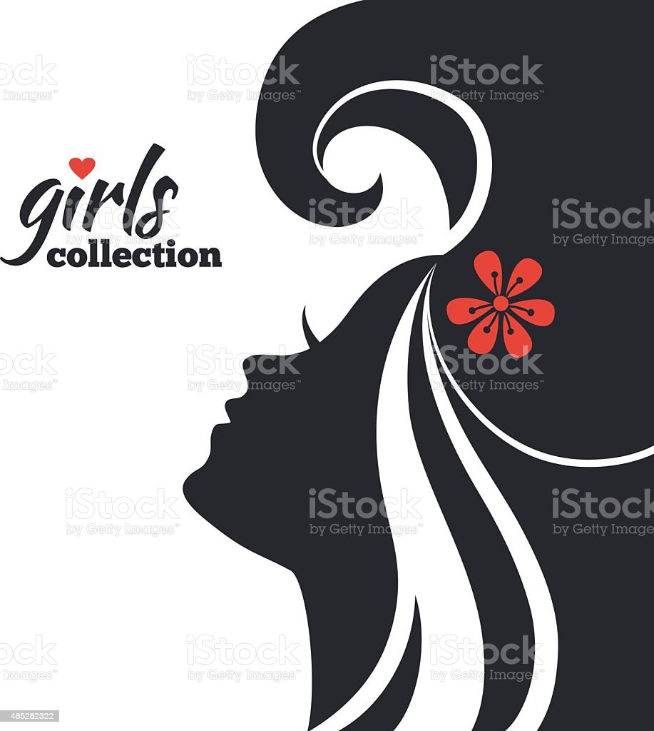 Beautiful woman silhouette with flowers. Girls collection vector art illustration