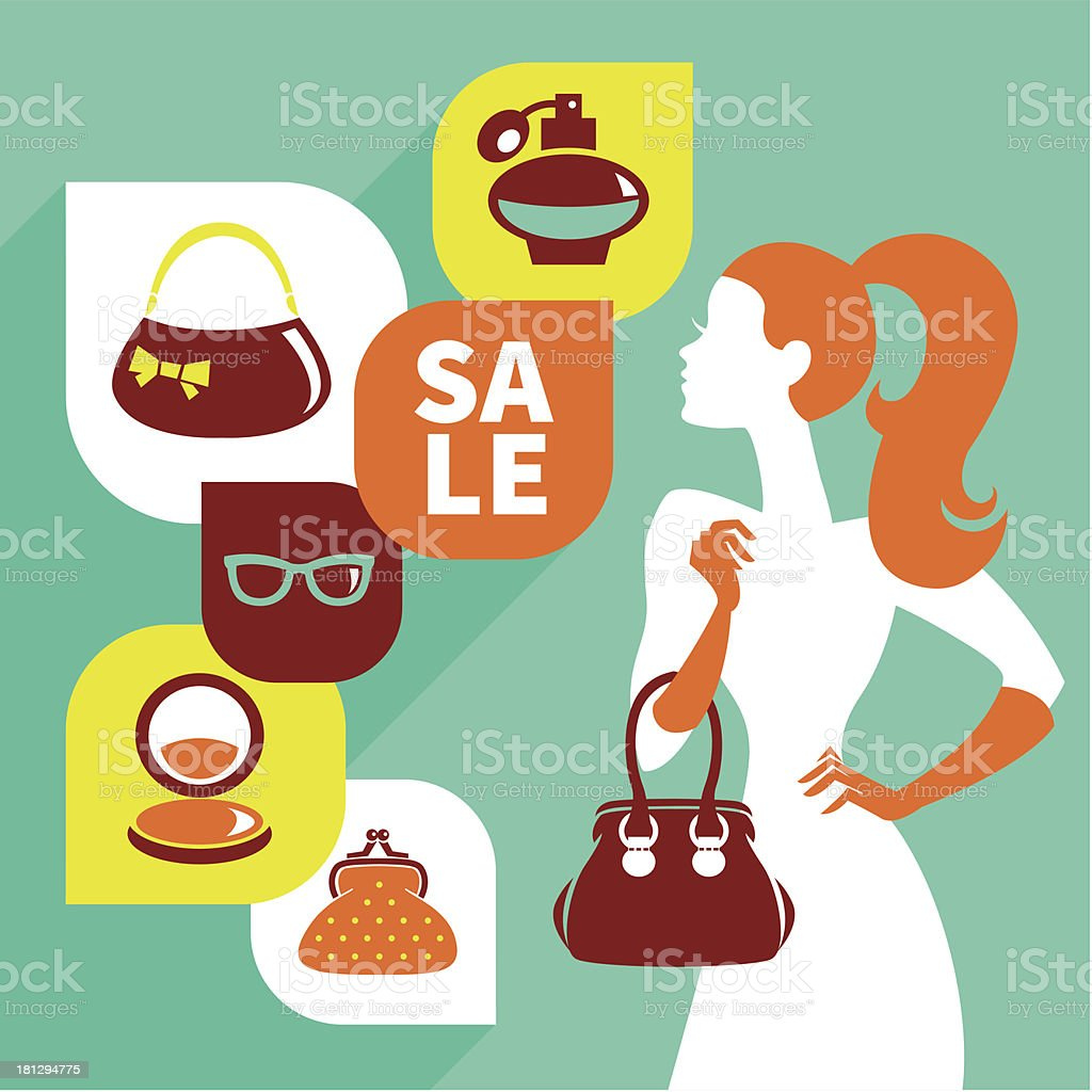 Beautiful woman silhouette with shopping icons royalty-free stock vector art