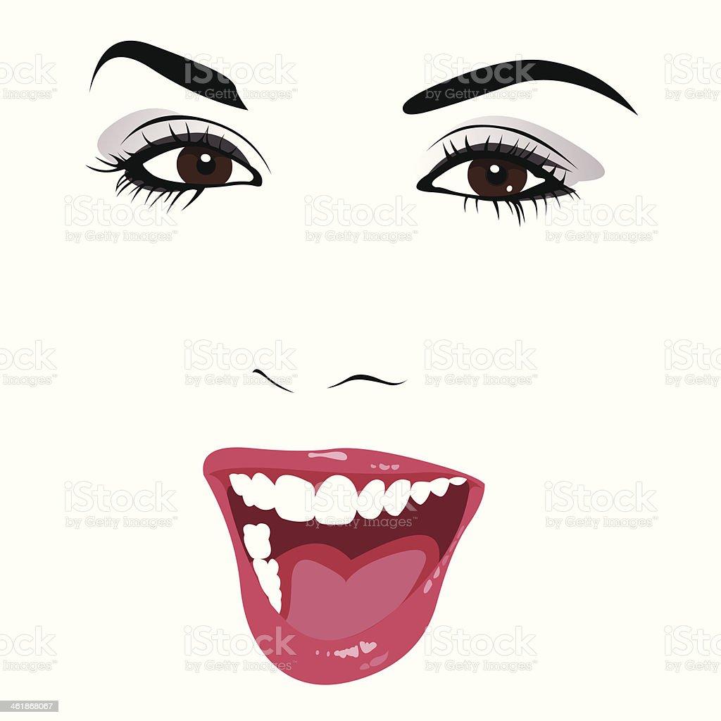 Beautiful woman smiling vector. vector art illustration