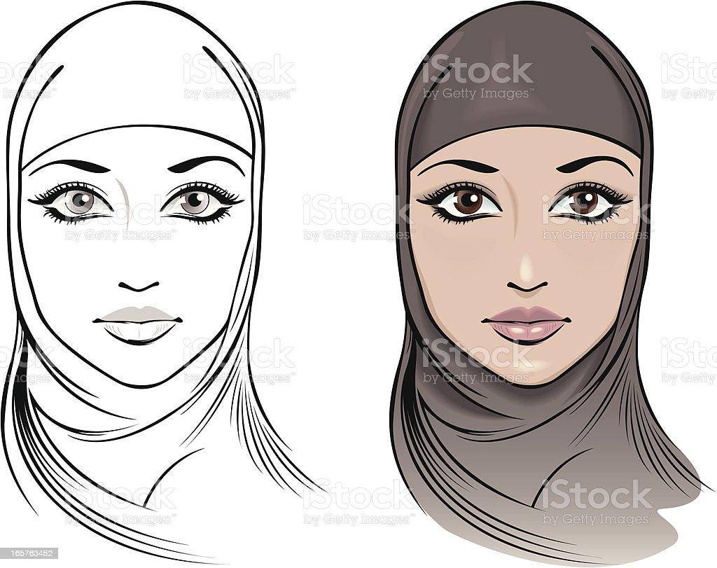 Beautiful woman wearing a Hijab vector art illustration