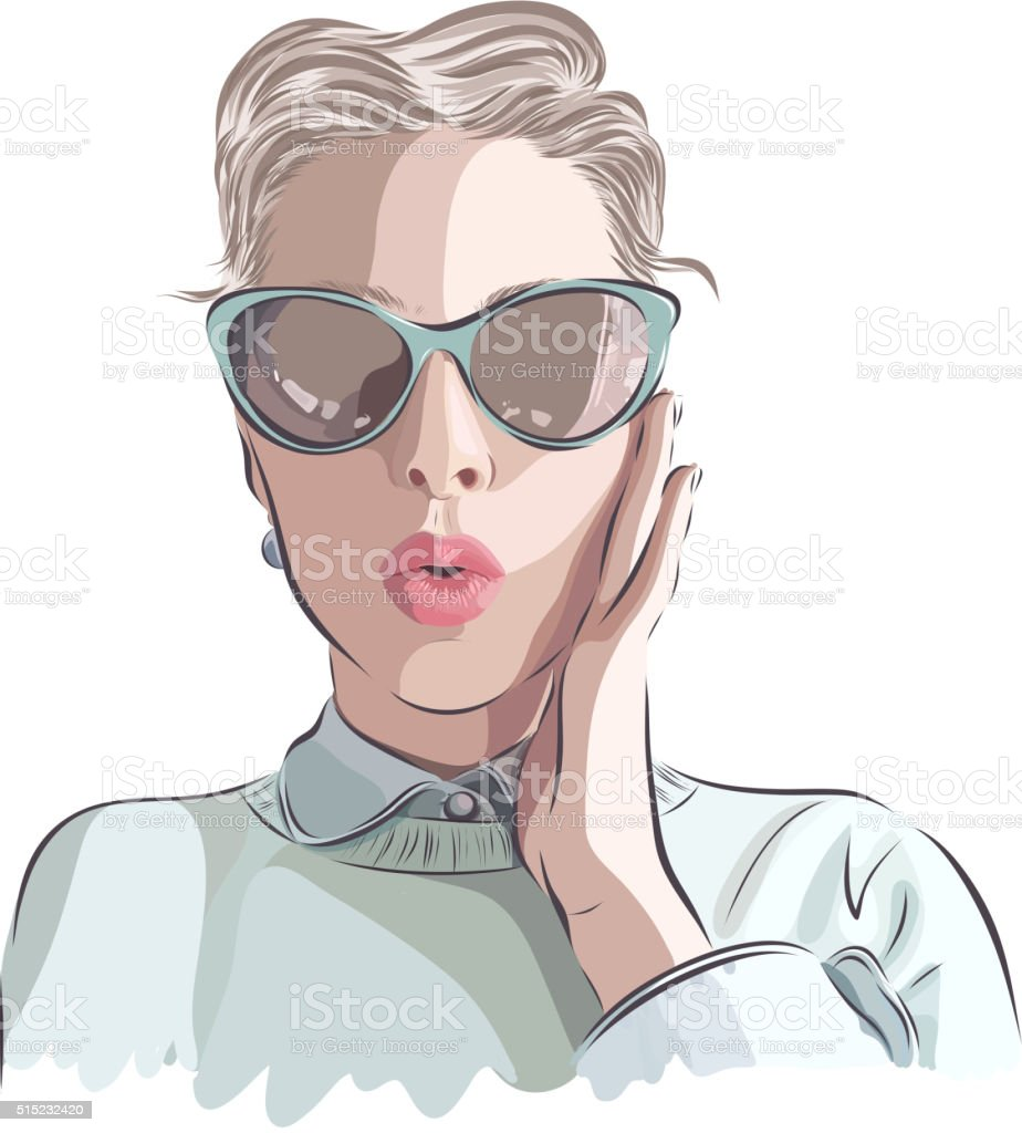 Beautiful woman wearing a necklace. Vector illustration eps 10 vector art illustration