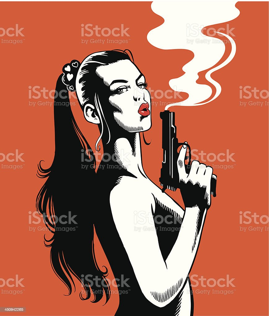 Beautiful Woman With a Smoking Gun vector art illustration