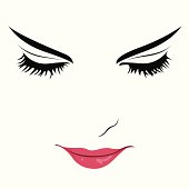 Beautiful woman with eyes closed vector