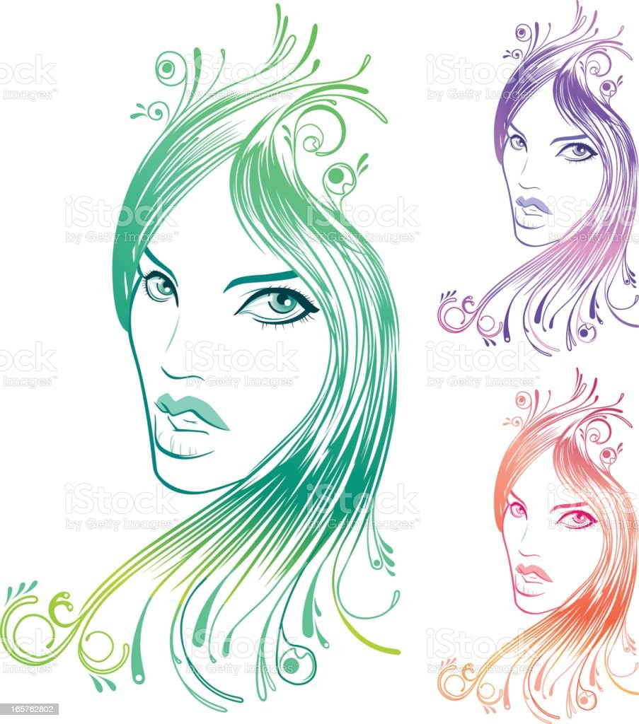 Beautiful woman's face with florals and curls vector art illustration